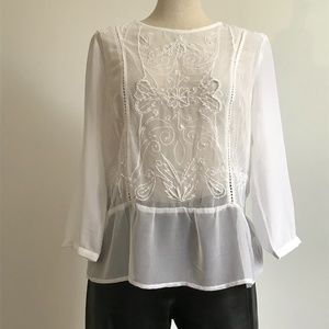 Forever 21 Shear white blouse with embroidery L